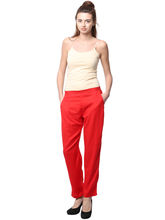 Pearly Cotton Ryon Full Length Smart Fit Trouser (PPA108), s, red