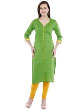 Pearly Women's Cotton Front Button Straight Kurti (PK214), xl, green