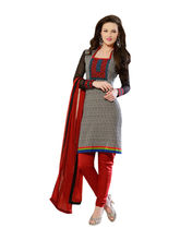 Sinina Cotton Embroidered Salwar Kameez Suit Unstitched Dress Material (24lwb278), grey