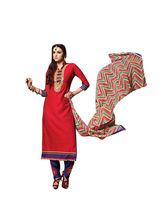 Sinina Cotton Embroidered Salwar Kameez Suit Unstitched Dress Material (Sksimayaa108), red