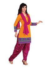 Sinina Cotton Embroidered Salwar Kameez Suit Unstitched Dress Material (RH2CH08), orange