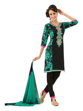 Sinina Cotton Embroidered Salwar Kameez Suit Unstitched Dress Material (lwbless04), black