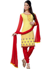 Sinina Cotton Embroidered Salwar Kameez Suit Unstitched Dress Material (RH21PK11), yellow