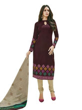 Sinina Women's Cotton Printed Straight Salwar Kameez Unstitched Dress Material (SGP808), brown