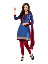 Sinina Cotton Embroidered Salwar Kameez Suit Unstitched Dress Material (24lwb285), blue