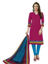 Sinina Women's Cotton Printed Straight Salwar Kameez Unstitched Dress Material (SGP807), pink