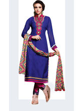 Sinina Cotton Embroidered Salwar Kameez Suit Unstitched Dress Material (Sksimayaa103), blue