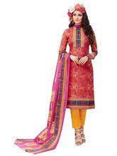 Sinina Women's Cotton Printed Straight Salwar Kameez Unstitched Dress Material (SJ3517), pink
