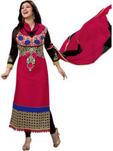 Sinina Cotton Embroidered Salwar Kameez Suit Unstitched Dress Material (RHEA01), pink
