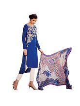 Sinina Jacquard Cotton Salwar Kameez Suit Unstitched Dress Material (Fcmonarch9088), blue