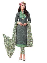 Sinina Women's Cotton Printed Straight Salwar Kameez Unstitched Dress Material (SJ3503), grey