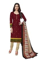 Sinina Women's Cotton Printed Straight Salwar Kameez Unstitched Dress Material (SGP707), maroon