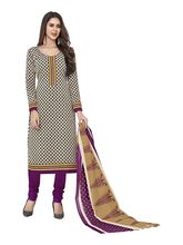 Sinina Women's Cotton Printed Straight Salwar Kameez Unstitched Dress Material (SGP712), purple