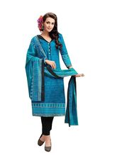 Sinina Women's Cotton Printed Straight Salwar Kameez Unstitched Dress Material (SJ3510), blue