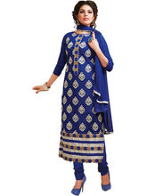 Sinina Cotton Embroidered Salwar Kameez Suit Unstitched Dress Material (Skmannat646), blue
