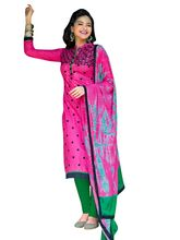 Sinina Cotton Embroidered Unstitched Dress Material (Plati02), pink