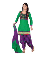 Sinina Cotton Embroidered Salwar Kameez Suit Unstitched Dress Material (RH2CH03), green