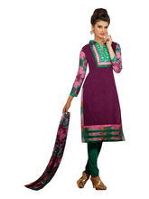 Sinina Cotton Embroidered Salwar Kameez Suit Unstitched Dress Material (122Tangy0024), purple
