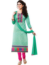 Sinina Cotton Embroidered Salwar Kameez Suit Unstitched Dress Material (Sksajda658), green
