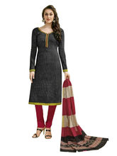 Sinina Women's Cotton Printed Straight Salwar Kameez Unstitched Dress Material (SGP803), black