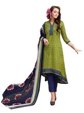 Sinina Women's Cotton Printed Straight Salwar Kameez Unstitched Dress Material (SJ3516), green