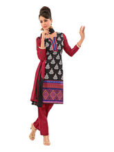 Sinina Cotton Embroidered Salwar Kameez Suit Unstitched Dress Material (lwbless11), black