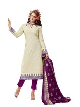 Sinina Women's Cotton Printed Straight Salwar Kameez Unstitched Dress Material (SJ3512), purple