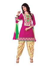 Sinina Cotton Embroidered Salwar Kameez Suit Unstitched Dress Material (RH2CH09), pink