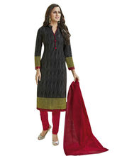 Sinina Women's Cotton Printed Straight Salwar Kameez Unstitched Dress Material (SGP826), black
