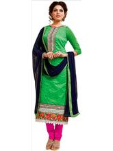 Sinina Cotton Embroidered Salwar Kameez Suit Unstitched Dress Material (Skmannat641), green