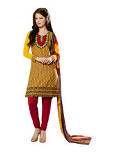Sinina Cotton Embroidered Salwar Kameez Suit Unstitched Dress Material (24lwb277), yellow