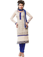 Sinina Cotton Embroidered Salwar Kameez Suit Unstitched Dress Material (Sksajda662), white