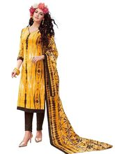 Sinina Women's Cotton Printed Straight Salwar Kameez Unstitched Dress Material (SJ3507), yellow
