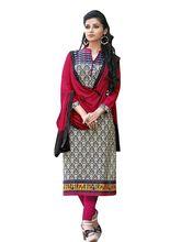 Sinina Cotton Embroidered Salwar Kameez Suit Unstitched Dress Material (Wave14), black