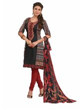 Sinina Cotton Embroidered Salwar Kameez Suit Unstitched Dress Material (25lwb300), black