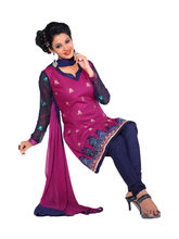 Sinina Cotton Embroidered Salwar Kameez Suit Unstitched Dress Material (SV08), pink