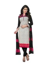 Sinina Cotton Embroidered Salwar Kameez Suit Unstitched Dress Material (wave05), black