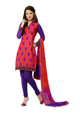 Sinina Cotton Embroidered Salwar Kameez Suit Unstitched Dress Material (24lwb280), red