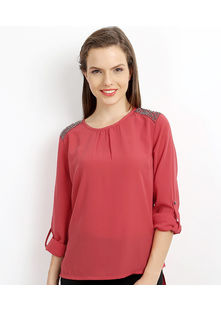 Studed Shoulder Top,  coral, s