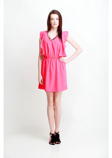 Short Dress with Petal Panel Sleeve, shoking pink, l