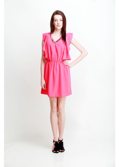 Short Dress with Petal Panel Sleeve