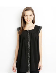 Emroidered Placket Shirt,  black, m
