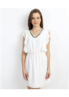 Short Dress with Petal Panel Sleeve,  off-white, m