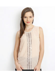 Embellished Sleeveless Top,  peach, l