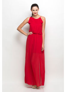 Asymetric Maxi Dress,  red, s