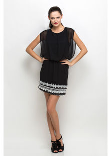 Bottom Embroidered Dress,  black, s