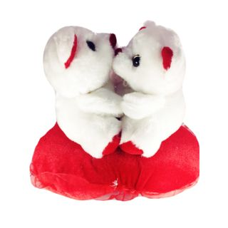 Famous Bazaar Musical Teddy Bear, White And Red
