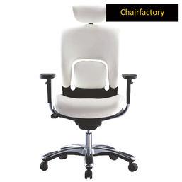 Notch High Back Ergonomic 100% Genuine Leather Chair, white