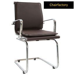 Brown Ray Charles Eames Double Cushion Fixed Chair Replica