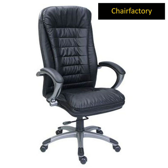 Chester High Back Leather Chair, black